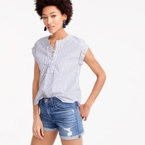 J. Crew Striped Laced Front Blouse NWOT